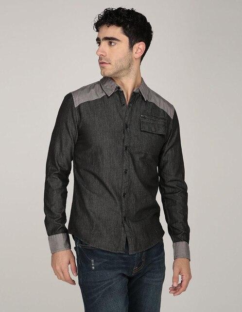 79ff97d6d Camisa casual Guess corte slim fit negra jaspeada